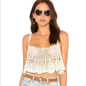 Free People Free Woven Crop Top Ivory Large
